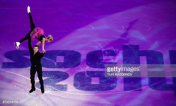 Canada's Kristen Moore-Towers and Canada's Dylan Moscovitch perform at the Figure Skating Exhibition Gala at the Iceberg Skating Palace during the...