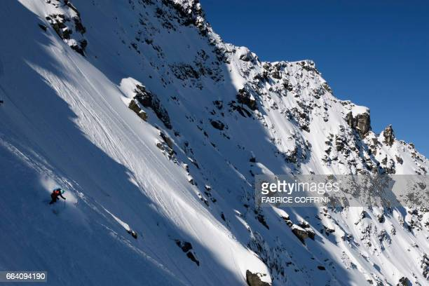 Canada's Kylie Sivell competes the Women's ski event during the Verbier Xtreme Freeride World Tour finals at the Bec des Rosses mountain above the...