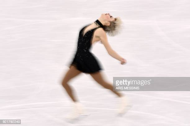 TOPSHOT Canada's Larkyn Austman competes in the women's single skating short program of the figure skating event during the Pyeongchang 2018 Winter...
