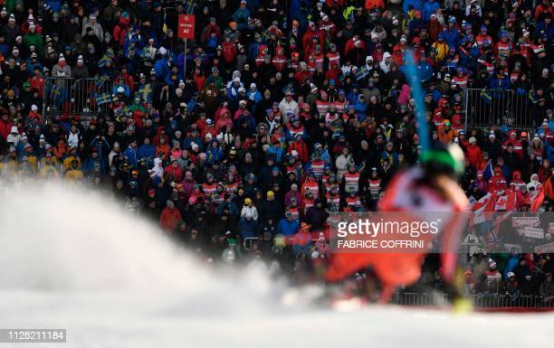 Canada's Laurence StGermain competes in the second run of the women's slalom event at the 2019 FIS Alpine Ski World Championships at the National...