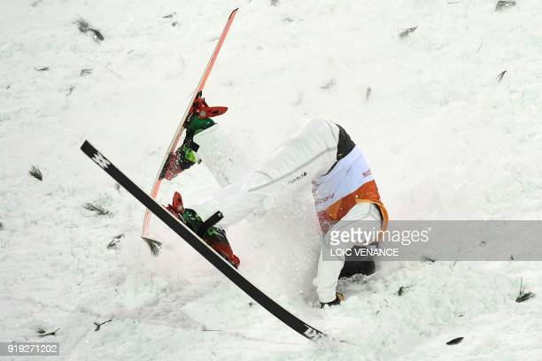 TOPSHOT Canada's Lewis Irving competes in the men's aerials qualification event during the Pyeongchang 2018 Winter Olympic Games at the Phoenix Park...
