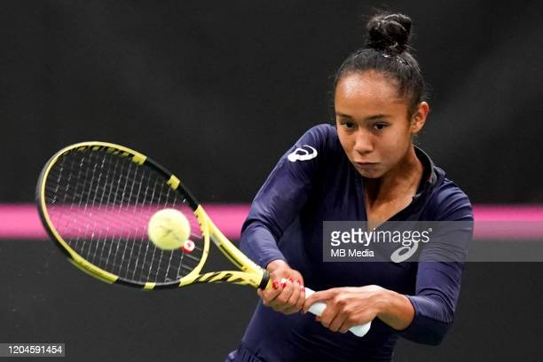 Canada's Leylah Annie Fernandez in action during a pratice session prior to the Fed Cup match between Switzerland and Canada on February 5,2020 in...