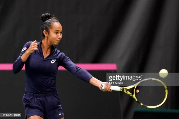 Canada's Leylah Annie Fernandez in action during a pratice session prior to the Fed Cup match between Switzerland and Canada on February 52020 in...