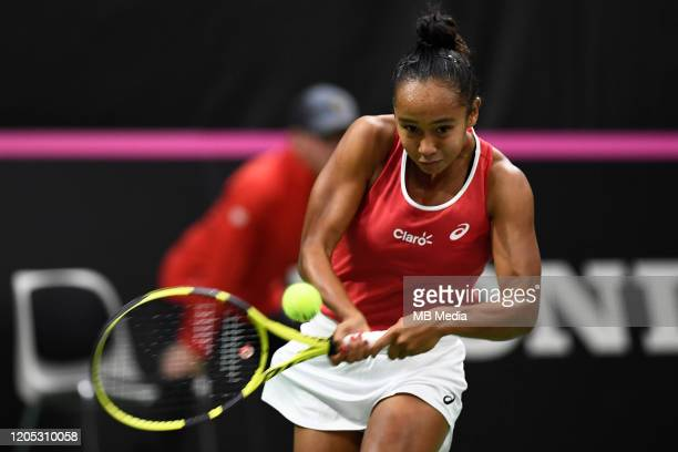 Canada's Leylah Annie Fernandez in action during Fed Cup match between Switzerland and Canada on February 7 2020 in BielSwitzerland