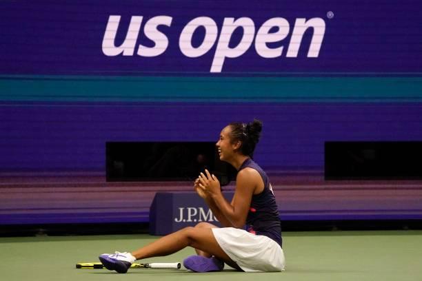Canada's Leylah Fernandez reacts after winning her 2021 US Open Tennis tournament women's semifinal match against Belarus's Aryna Sabalenka at the...
