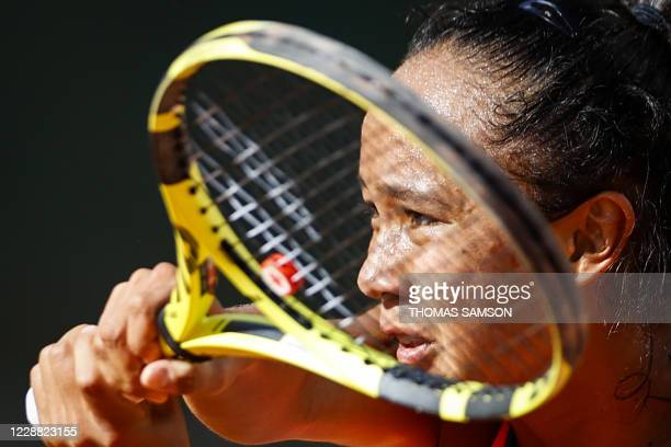 Canada's Leylah Fernandez returns the ball to Slovenia's Polona Hercog during their women's singles second round tennis match on Day 5 of The Roland...