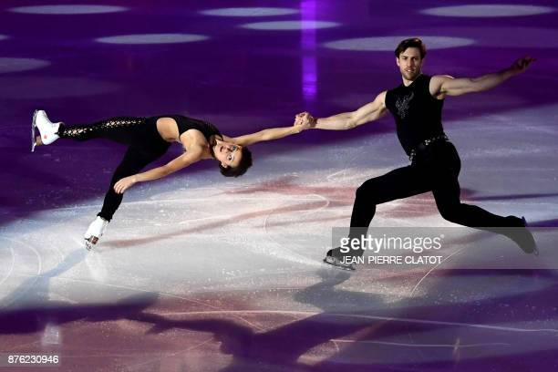 Canada's Liubov Ilyushechkina and Dylan Moscovitch perform during the Gala show at the end of the Internationaux de France ISU Grand Prix of Figure...