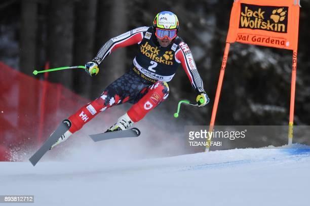 Canada's Manuel OsborneParadis competes in the FIS Alpine World Cup Men Downhill on December 16 2017 in Val Gardena Groeden Italian Alps / AFP PHOTO...