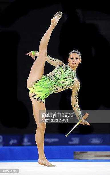 Canada's Maria Kitkarska competes in the women's rhythmic gymnastics individual clubs final at The SECC Precinct during the 2014 Commonwealth Games...