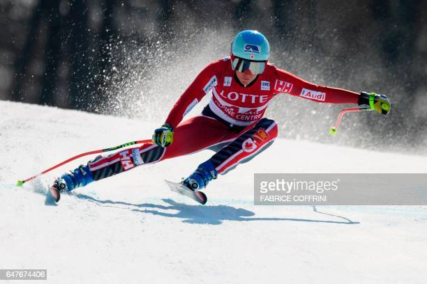Canada's MarieMichele Gagnon competes during the women's downhill race at the FIS Alpine Ski World Cup in Jeongseon some 150km east of Seoul that is...
