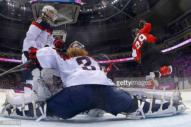 Canada's Marie-Philip Poulin celebrates after scoring during the Women's Ice Hockey Gold Medal Game between Canada and USA at the Bolshoy Ice Dome...