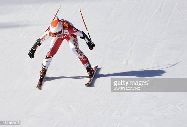 Canada's Mariepier Prefontaine reacts after the Women's Alpine Skiing SuperG at the Rosa Khutor Alpine Center during the Sochi Winter Olympics on...