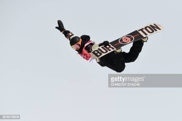 TOPSHOT Canada's Mark McMorris competes during run 3 of the final of the men's snowboard big air event at the Alpensia Ski Jumping Centre during the...