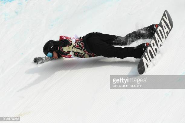 TOPSHOT Canada's Max Parrot falls during run 3 of the final of the men's snowboard big air event at the Alpensia Ski Jumping Centre during the...