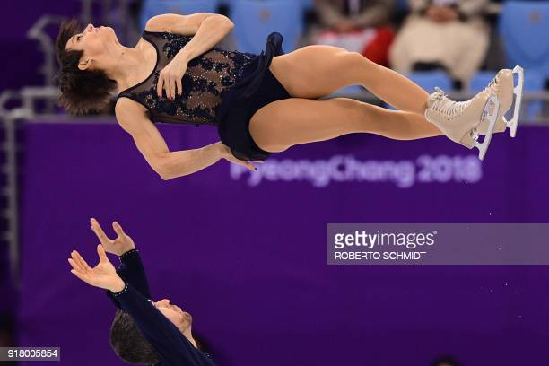 TOPSHOT Canada's Meagan Duhamel and Canada's Eric Radford compete in the pair skating short program of the figure skating event during the...