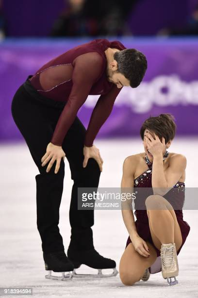 TOPSHOT Canada's Meagan Duhamel and Canada's Eric Radford compete in the pair skating free skating of the figure skating event during the Pyeongchang...