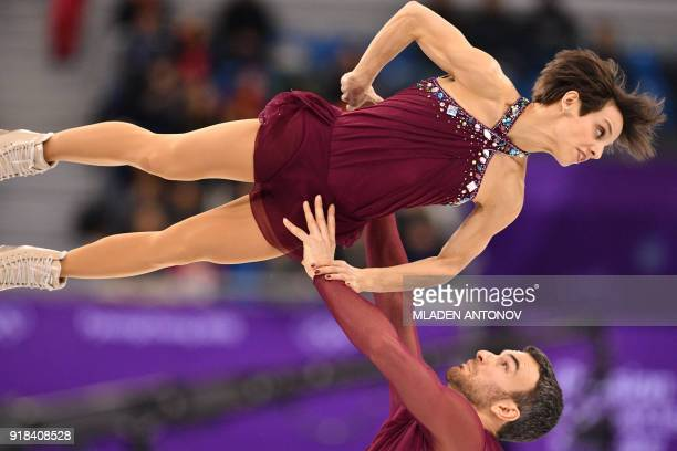 Canada's Meagan Duhamel and Canada's Eric Radford compete in the pair skating free skating of the figure skating event during the Pyeongchang 2018...