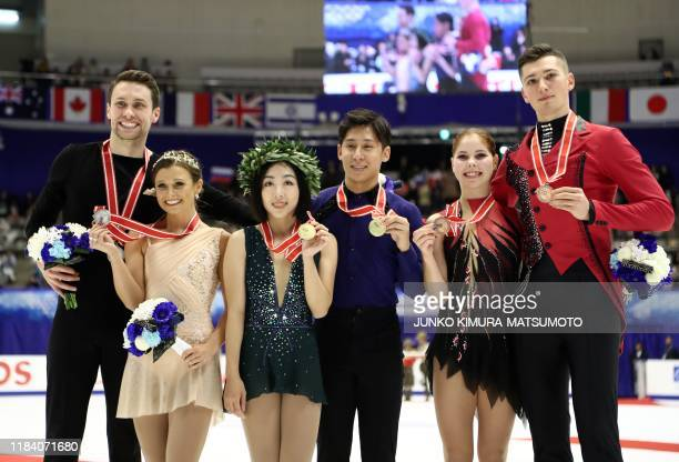 Canada's Michael Marinaro and Kirsten MooreTowers China's Sui Wenjing and Han Cong and Russia' Anastasia Mishina and Aleksandr Galliamov pose for...