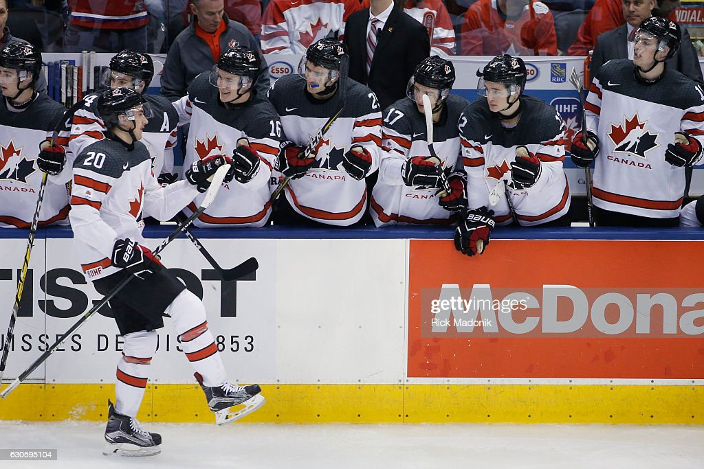 Canada's Michael McLeod (20) gets props from the bench after the goal. Team Canada vs Team Slovakia in 3rd period action of round 1 action of 2017 IIHF Junior championship tournament at Air Canada Centre in Toronto. Canada wins 5-0 (44-6 shots on net). Toronto Star/Rick Madonik