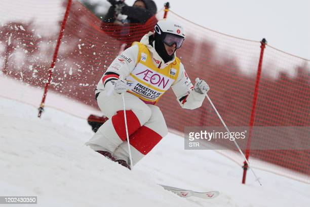 Canada's Mikael Kingsbury competes in the men's Freestyle Skiing World Cup competition at Lake Tazawa Ski Resort Akita Prefecture on February 22 2020...