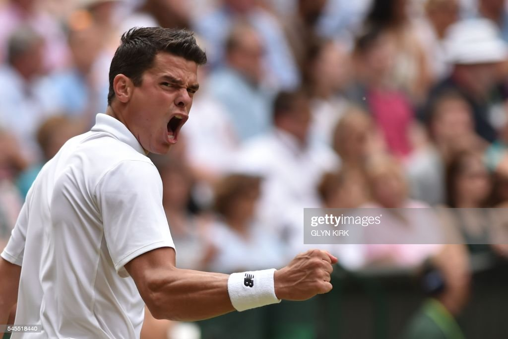 TOPSHOT - Canada's Milos Raonic celebrates winning the fourth set against Switzerland's Roger Federer during their men's semi-final match on the twelfth day of the 2016 Wimbledon Championships at The All England Lawn Tennis Club in Wimbledon, southwest London, on July 8, 2016. /