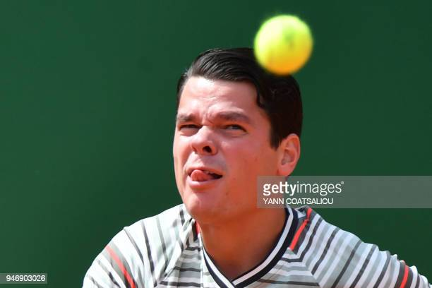 Canada's Milos Raonic eyes a ball during his round of 64 tennis match against Monaco's Lucas Catarina at the MonteCarlo ATP Masters Series Tournament...