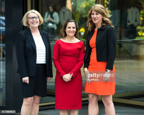 Canada's Minister for Foreign Affairs Chrystia Freeland poses for a picture with President of the National Council of German Womens Organisations...