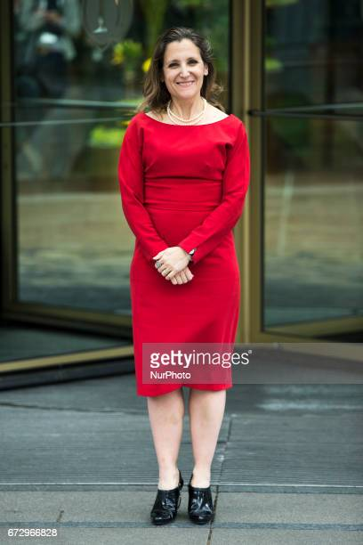 Canada's Minister for Foreign Affairs Chrystia Freeland poses for a picture upon her arrival at the Woman 20 Summit in Berlin Germany on April 25...