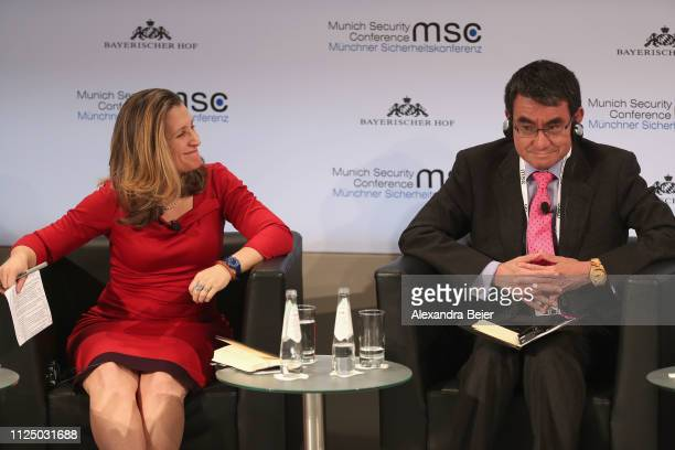 Canada's minister of foreign affairs Chrystia Freeland and Japan's minister of foreign affairs Taro Kono attend a panel discussion during the 55th...