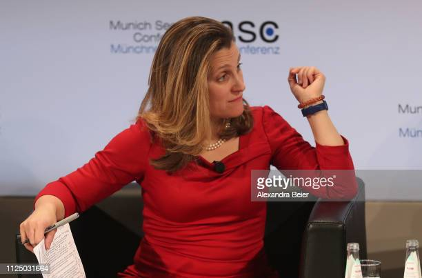 Canada's minister of foreign affairs Chrystia Freeland attends a panel discussion during the 55th Munich Security Conference on February 15 2019 in...