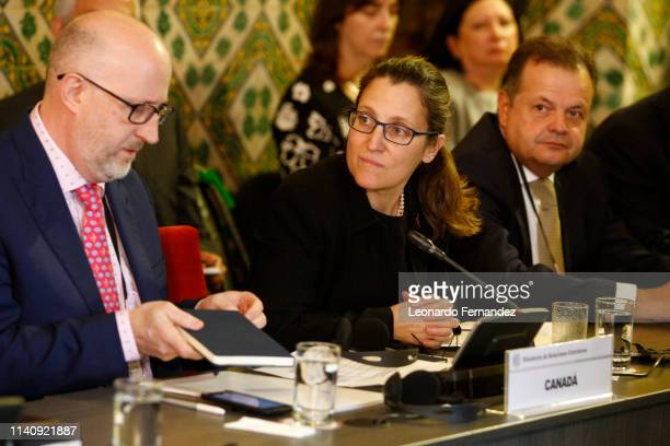 Canada's Minister of Foreign Affairs Chrystia Freeland attends a teleconference with representatives of Grupo de Lima to discuss about the situation...