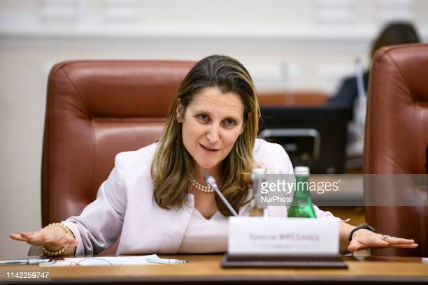 Canada's Minister of Foreign Affairs Chrystia Freeland during meeting with Ukrainian Prime Minister Volodymyr Groysman in Kyiv Ukraine 08 May 2019