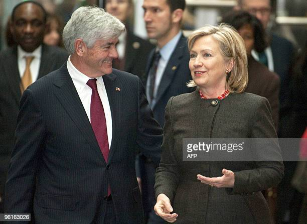 Canada's minister of foreign affairs Lawrence Cannon with US secretary of State Hillary Rodham Clinton at her arrival to the Haiti Ministerial...