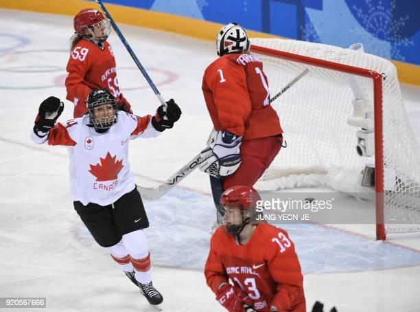 Canada's Natalie Spooner celebrates a goal in the women's semifinal ice hockey match between Canada and the Olympic Athletes from Russia during the...