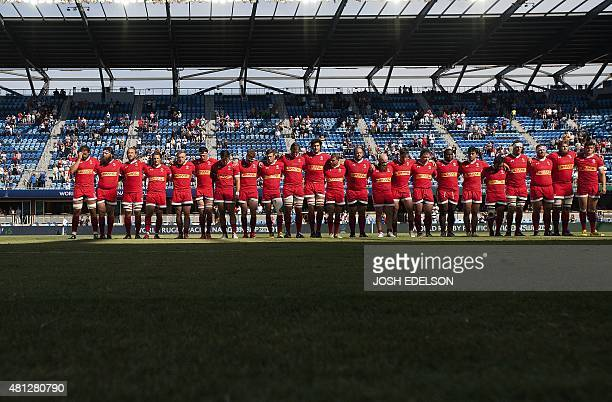 Canada's national rugby team poses for a photo before the start of a World Rugby Pacific Nations Cup match where Canada faced off against Japan at...