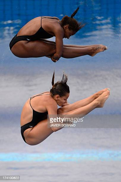 Canada's Pamela Ware and Jennifer Abel compete in the women's 3metre synchro springboard final diving event in the FINA World Championships at the...