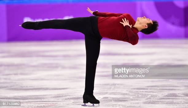 TOPSHOT Canada's Patrick Chan competes in the figure skating team event men's single skating free skating during the Pyeongchang 2018 Winter Olympic...