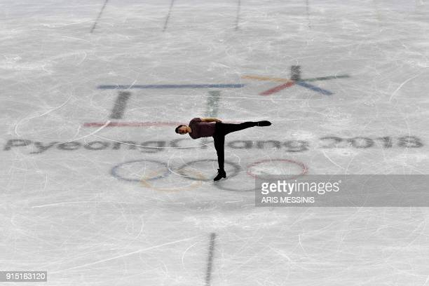 TOPSHOT Canada's Patrick Chan practices on the men single skating in the Gangneung Ice Arena before the 2018 Pyeongchang Winter Olympic Games on...