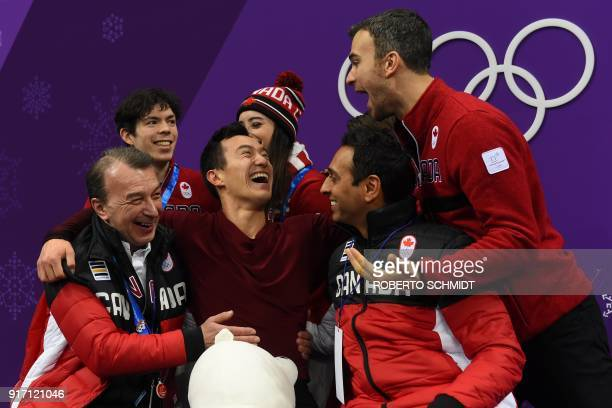Canada's Patrick Chan reacts after competing in the figure skating team event men's single skating free skating during the Pyeongchang 2018 Winter...