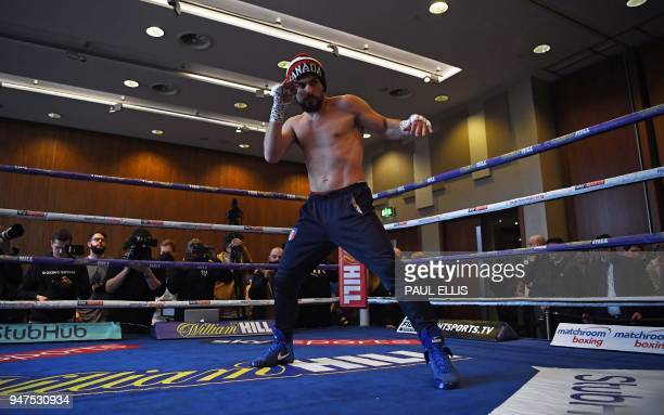 TOPSHOT Canada's Phil Lo Greco attends a prefight public work out at Paradise Place in Liverpool on April 17 ahead of his welterweight boxing bout...