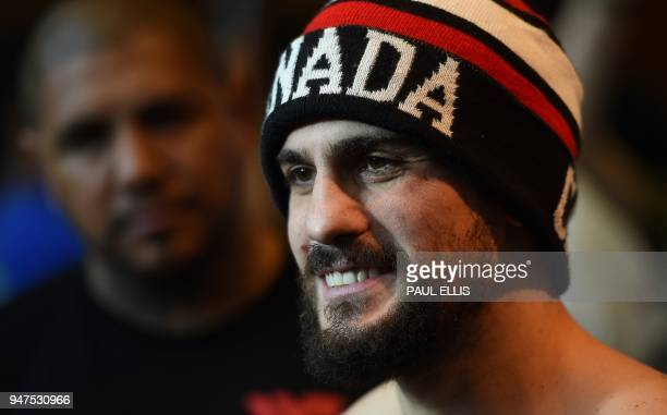 Canada's Phil Lo Greco attends a prefight public work out at Paradise Place in Liverpool on April 17 ahead of his welterweight boxing bout against...