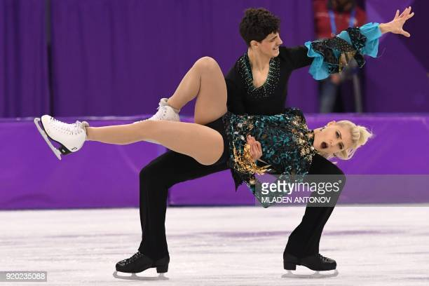 TOPSHOT Canada's Piper Gilles and Canada's Paul Poirier compete in the ice dance short dance of the figure skating event during the Pyeongchang 2018...