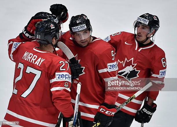 Canada's players celebrate a goal during the group B preliminary round game USA vs Canada at the 2016 IIHF Ice Hockey World Championship in St...
