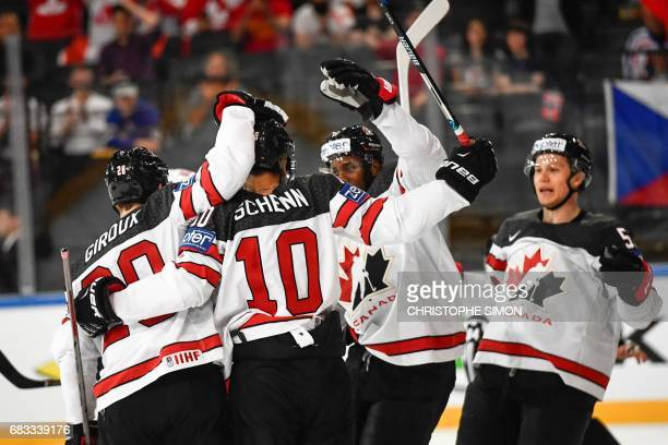Canada's players celebrates after Canada's forward Brayden Schenn scored during the IIHF Men's World Championship group B ice hockey match between...