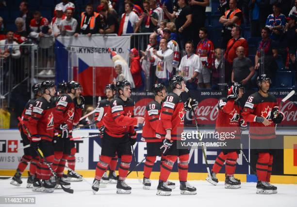 Canada's players react after the IIHF Men's Ice Hockey World Championships semifinal match between Canada and Czech Republic on May 25 2019 at the...