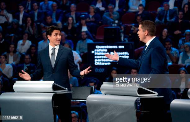 Canada's Prime Minister and Liberal leader Justin Trudeau and Conservative leader Andrew Scheer take part in the Federal leaders French language...