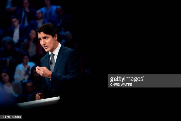 Canada's Prime Minister and Liberal leader Justin Trudeau speaks during the Federal leaders French language debate at the Canadian Museum of History...