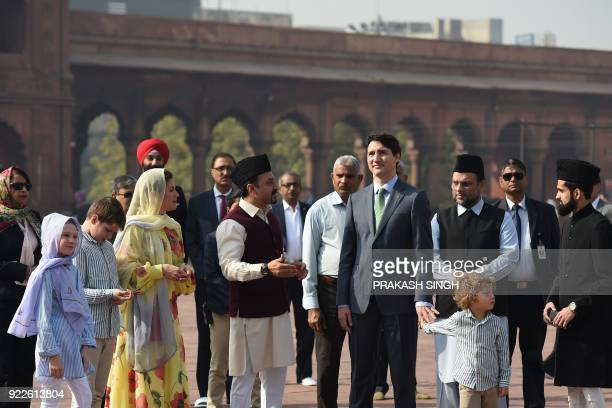 Canada's Prime Minister Justin Trudeau and his wife Sophie Gregoire Trudeau are given a tour around the Jama Masjid one of the largest mosques in New...