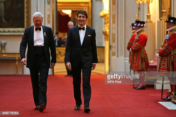 Canada's Prime Minister Justin Trudeau arrives to attend The Queen's Dinner during The Commonwealth Heads of Government Meeting at Buckingham Palace...