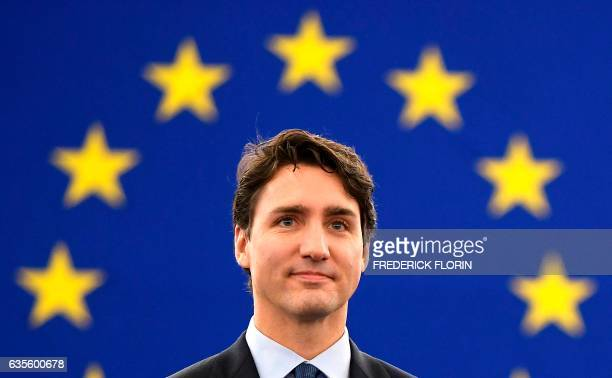 Canadas Prime Minister Justin Trudeau arrives to deliver a speech during a plenary session a day following a voting session on the EUCanada...